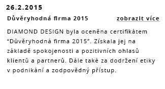 DIAMOND DESIGN byl oceněn certifikátem – důvěryhodná firma 2015