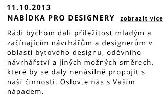 Nabídka pro mladé návrháře a designery