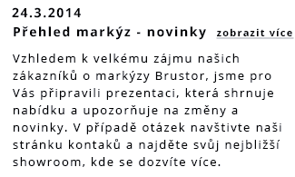 Novinky markýzy Brustor 2014