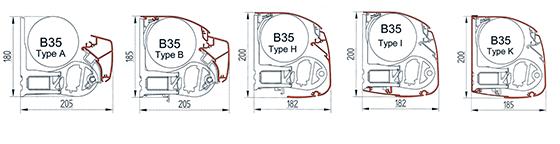 řezy kazetami markýzy B35