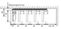 Schéma panelů japonské stěny  - pětidrážkový systém