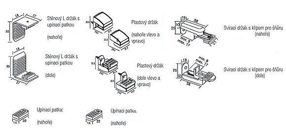 Montážní materiál pro plissé a dutte na okenní křídlo