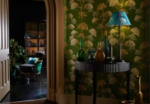 Harlequin 14 -callista-angeliki-wallpaper-golden-bright green-fennel silhouettes landscape luxury house décor