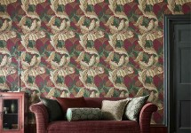 Morris 5 Acanthus-living-room-red-colourway-golden-botanical-style-library