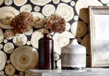 Sanderson 15 -wallpaper-wood-pieces-black-alnwick-logs-detail-vases-embleton-bay-sanderson-style-library
