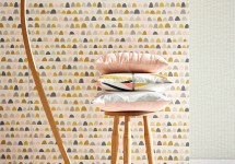 Scion 15 -Lohko-Wallpaper-Priya-Patterned-wallpaper-pink-gold-brown-blue-grey-retro-palette-tetra-cushion