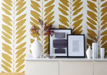 Scion 16 -Lohko-Wallpaper-Malra-wallpaper-leaf-botanical-wallpaper-gold-cream-stripe-wallpaper