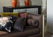 Zoffany 11 -wallpaper-geometric-neutral-red-living-room-seizo-raku-yellow-muse-zoffany-style-library-detail